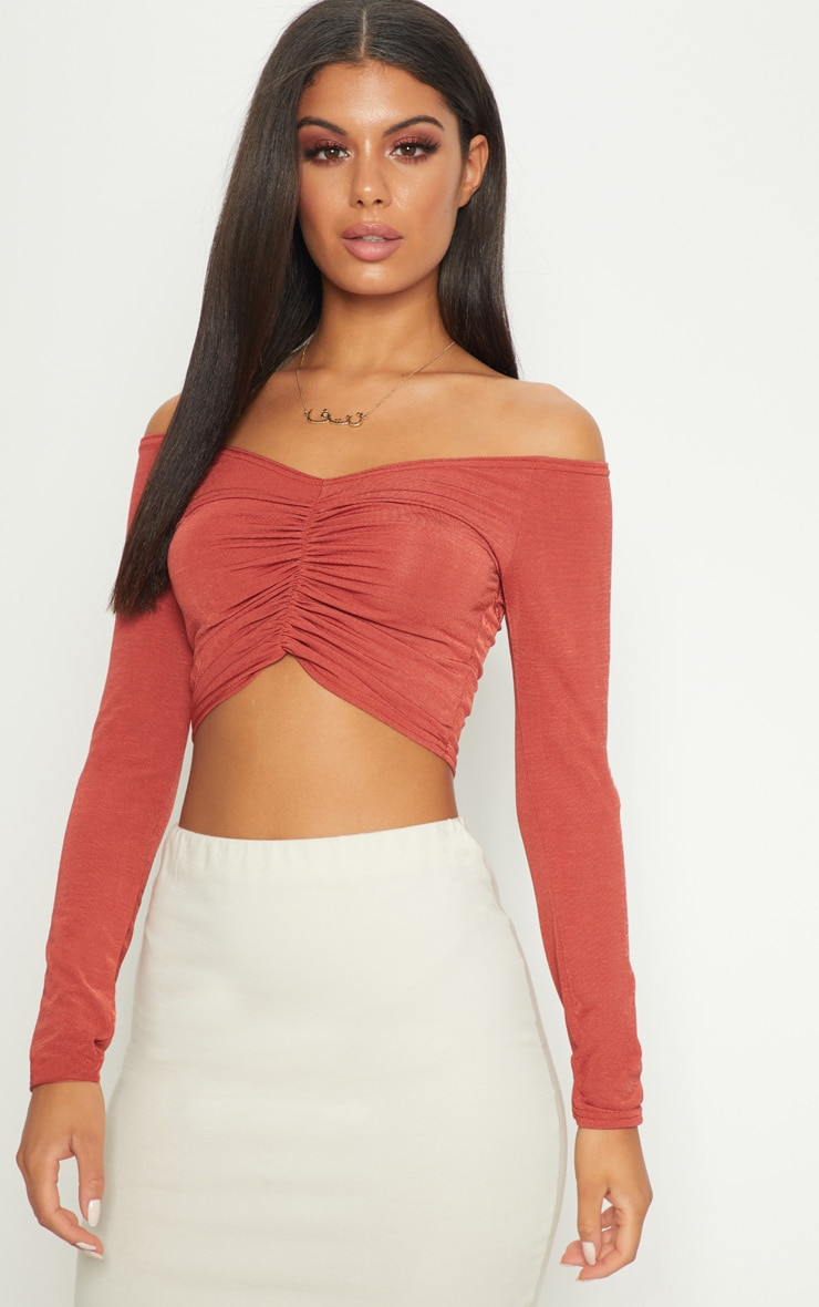Spice Slinky Ruched Front Long Sleeve Crop Top  1