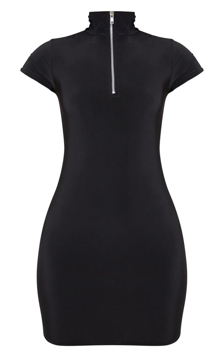 Petite Black Zip Detail Short Sleeve Slinky Mini Dress 3