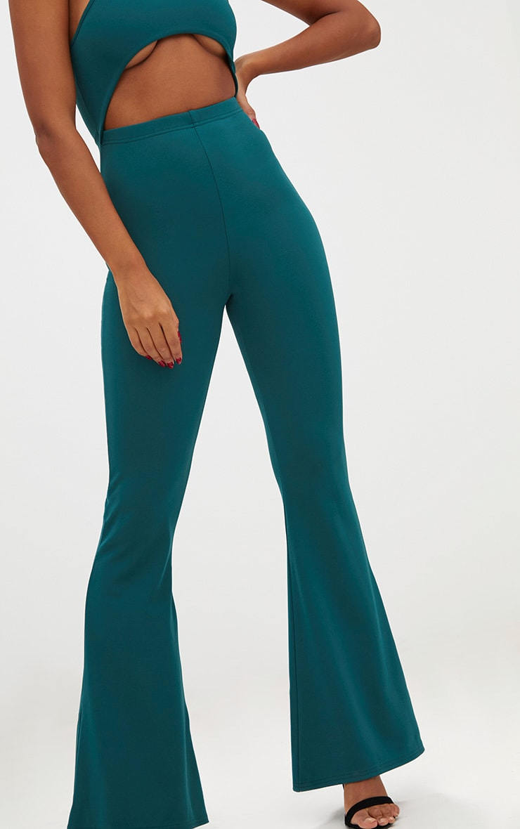 Forest Green Open Middle Wide Leg Jumpsuit 5