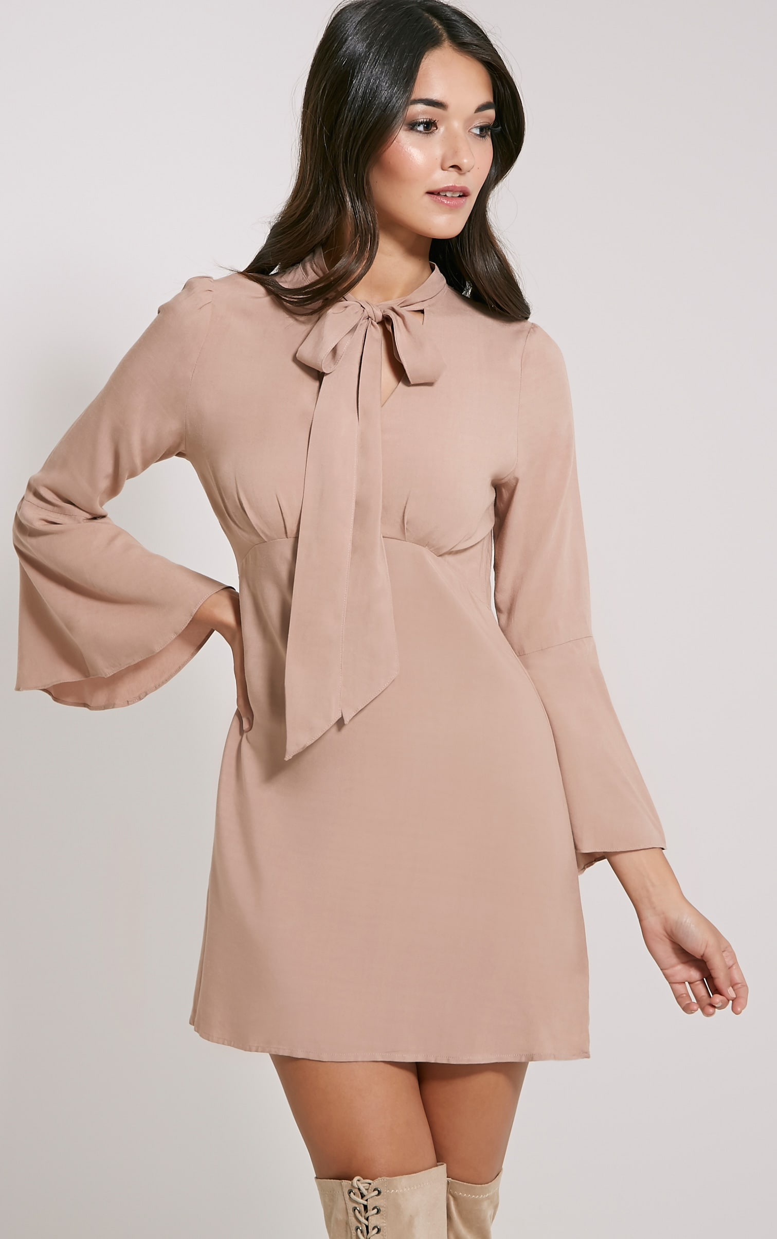 Cordelia Mocha Pussy Bow Swing Dress 1