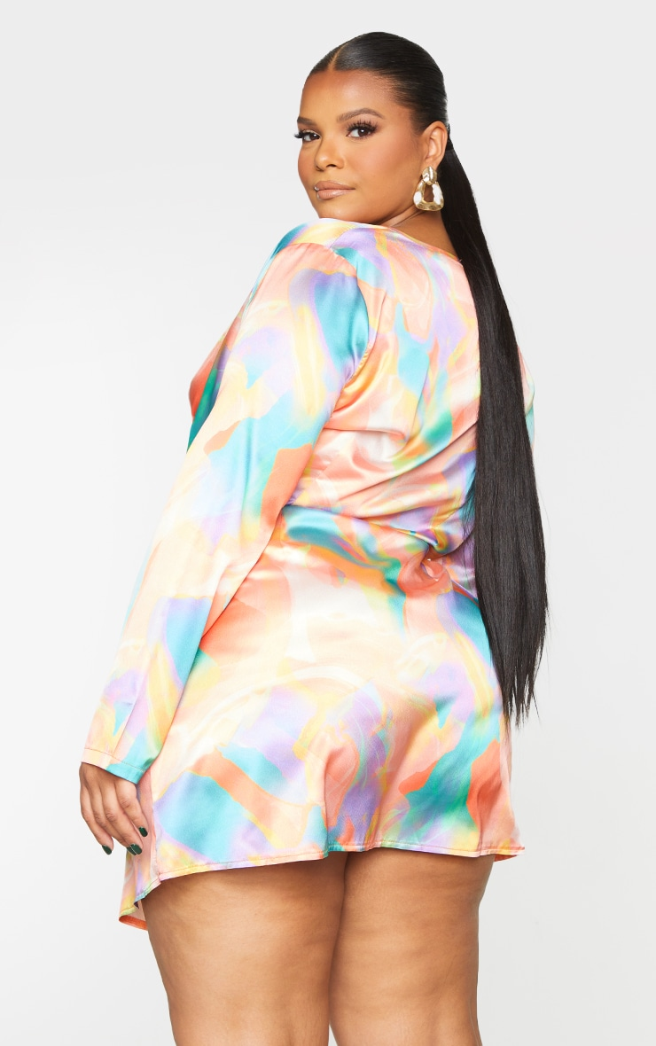 Plus Multi Abstract Print Satin Long Sleeve Wrap Dress 2