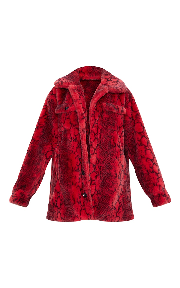 Red Snake Print Faux Fur Coat 5