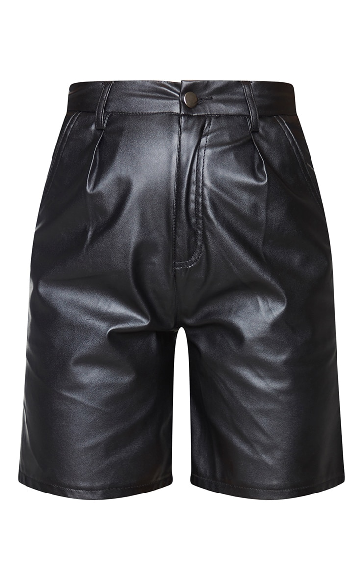 Black Faux Leather Longline Pleat Detail Shorts 6