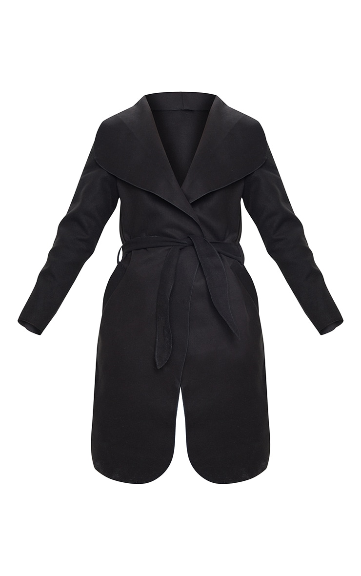 Veronica Black Oversized Waterfall Belt Coat  5