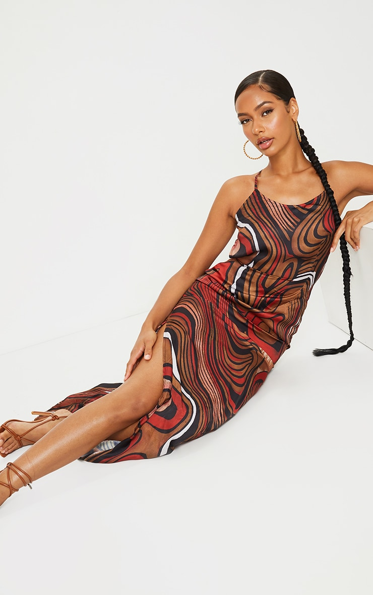 Multi Satin Abstract Print Low Back Halterneck Maxi Dress 3