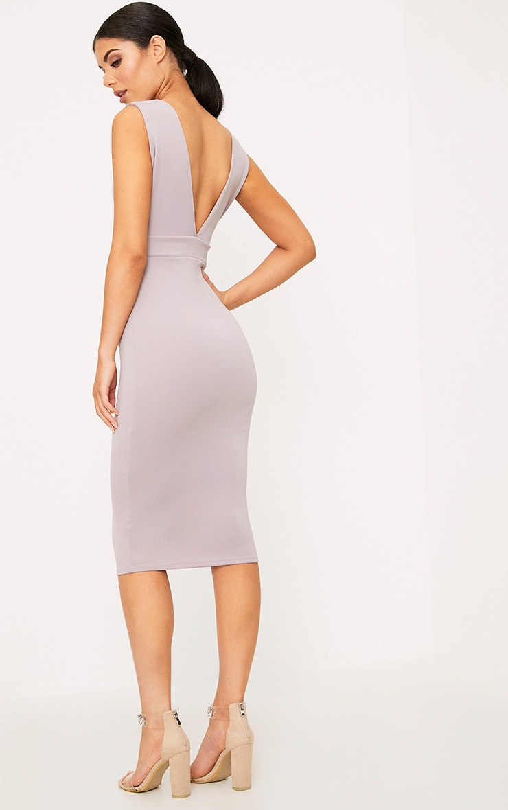 Lilac Grey Strap Side Plunge Midi Dress 2