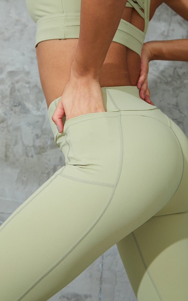 Green Super High Waist Pocket Detail Gym Leggings 4