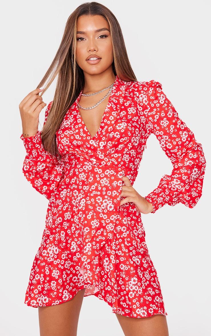 Red Ditsy Print Frill Edge Detail Tea Dress 1