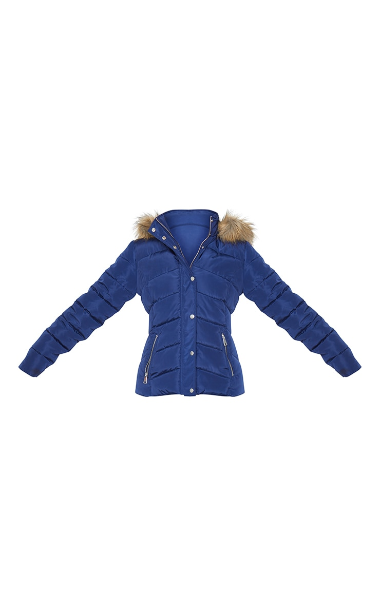 Blue Quilted Mara Faux Fur Hooded Puffer Jacket 5