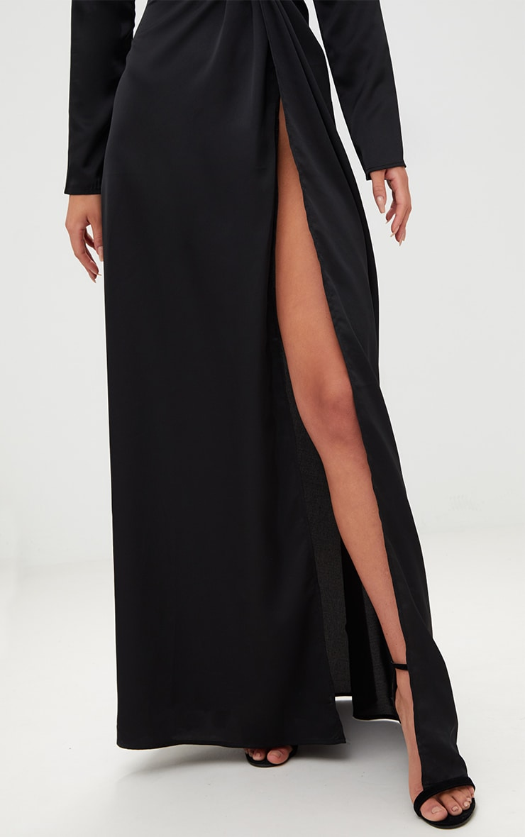 Black Satin Twist Front Maxi Dress 5