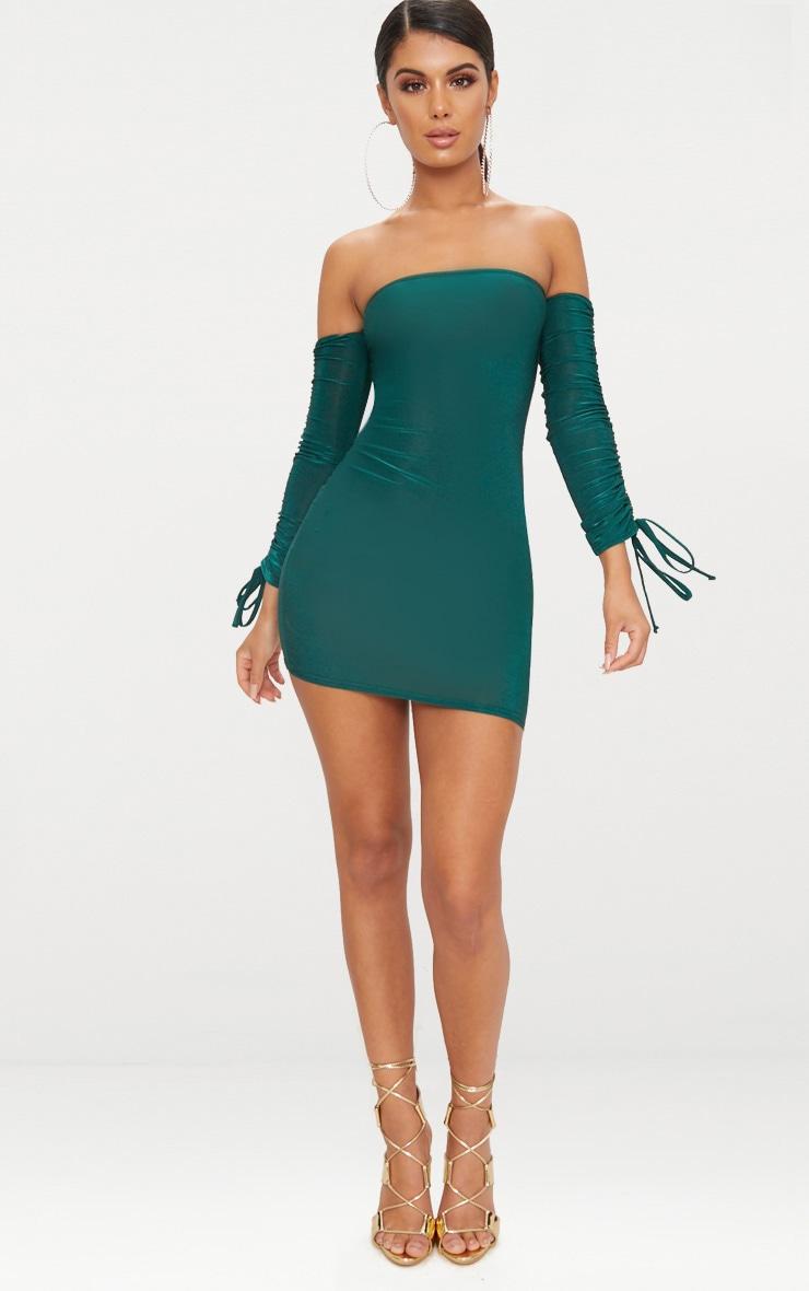 Emerald Green Slinky Bardot Bodycon Dress 4