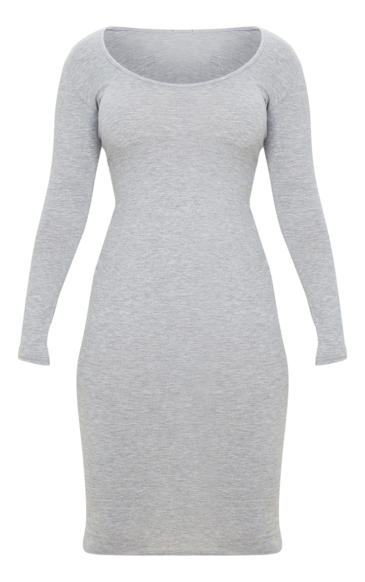Petite Grey Marl Long Sleeve Jersey Midi Dress 3