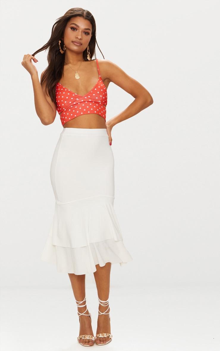 Cream Slinky Frill Hem Midi Skirt 1