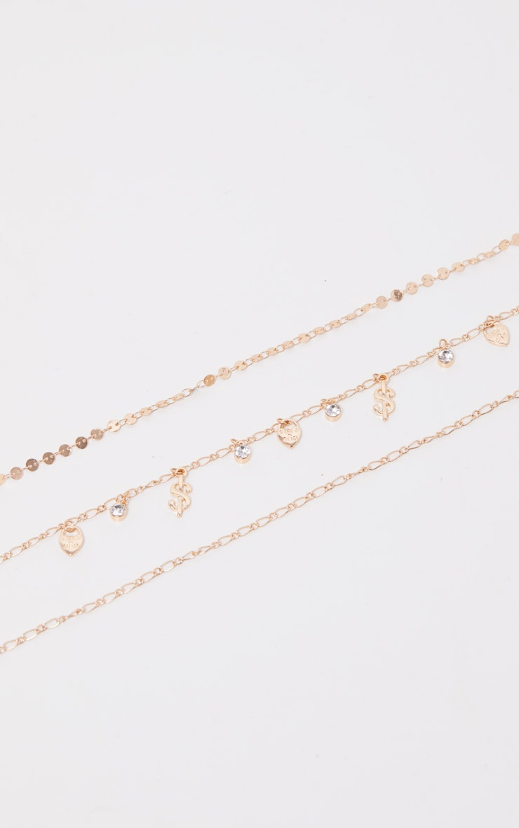 Gold Dollar And Disc Triple Layer Anklet 2