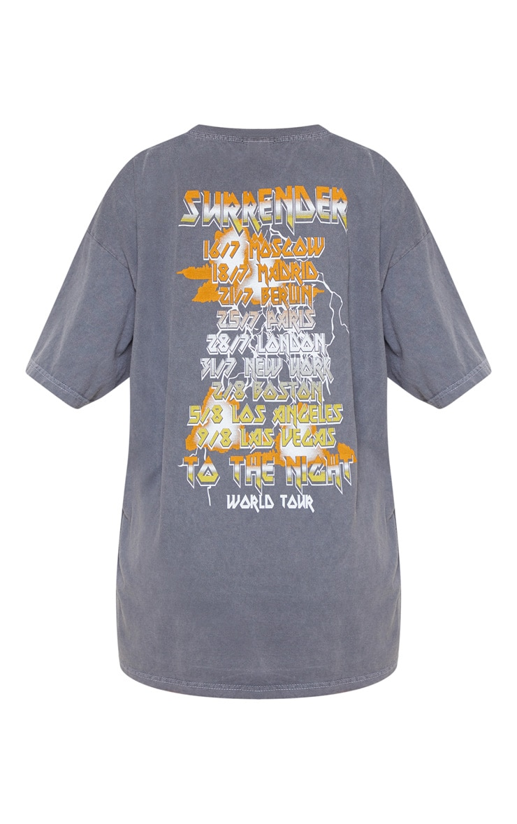 Grey Surrender World Tour Slogan Washed T Shirt 4
