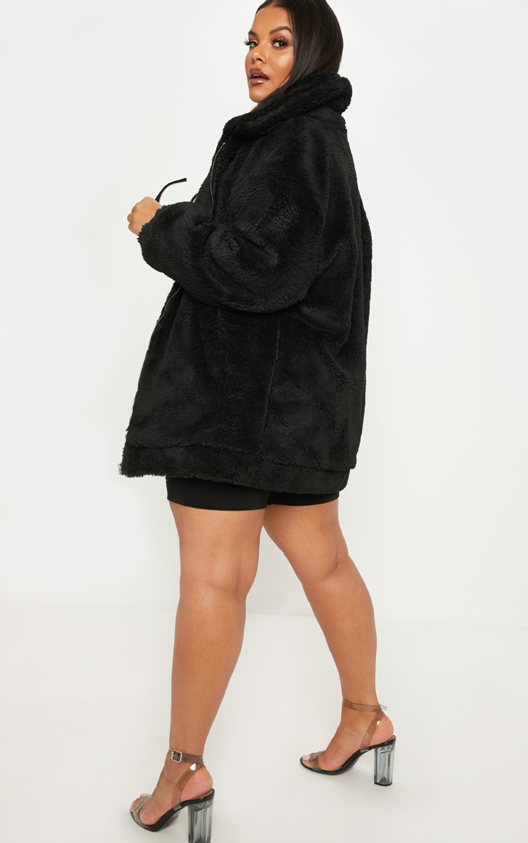 Plus Black Teddy Bomber Coat 2