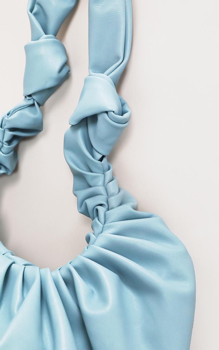 Baby Blue Large Ruched Shoulder Bag 2