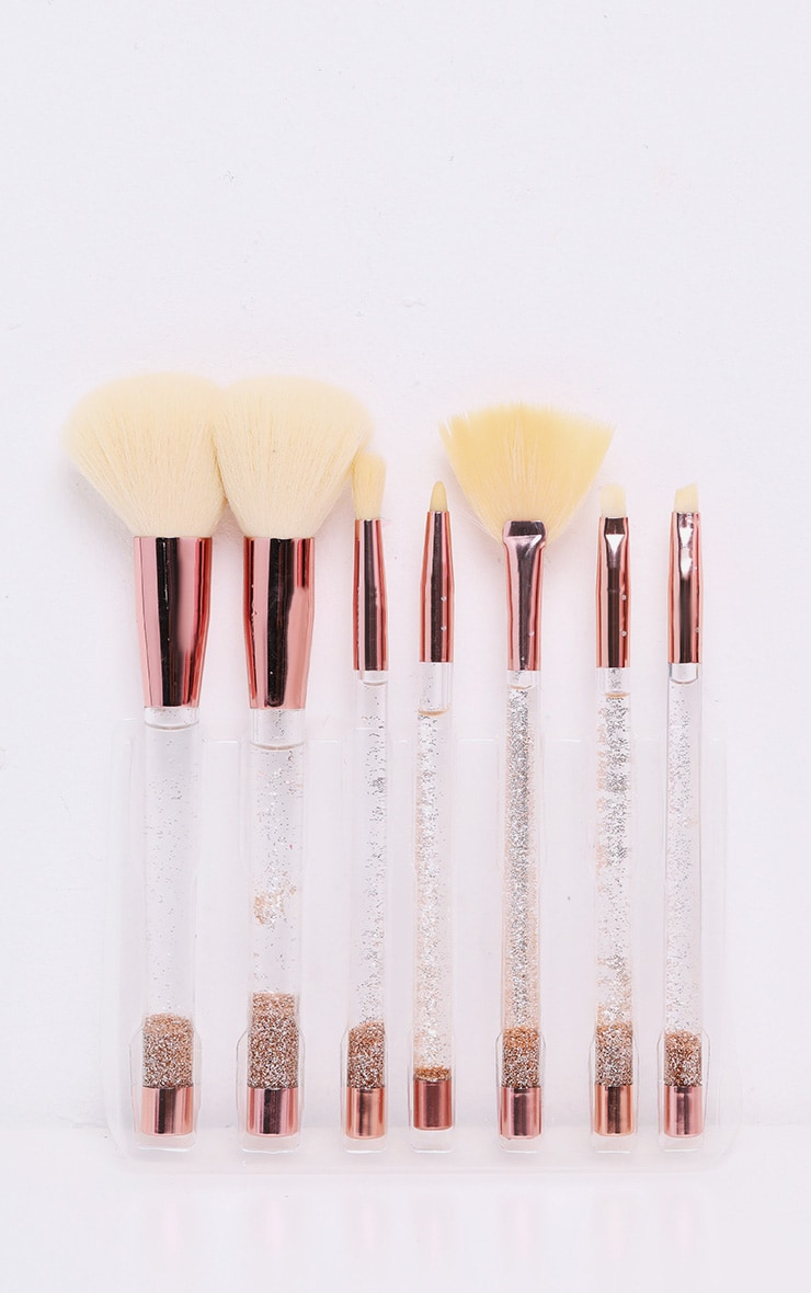 7 Piece Rose Gold Glitter Brush Set With Pouch 3