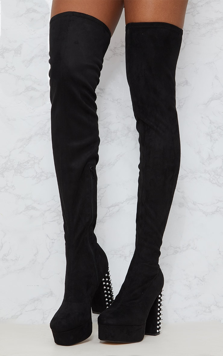 Black Faux Suede Thigh High Platform Boot 3