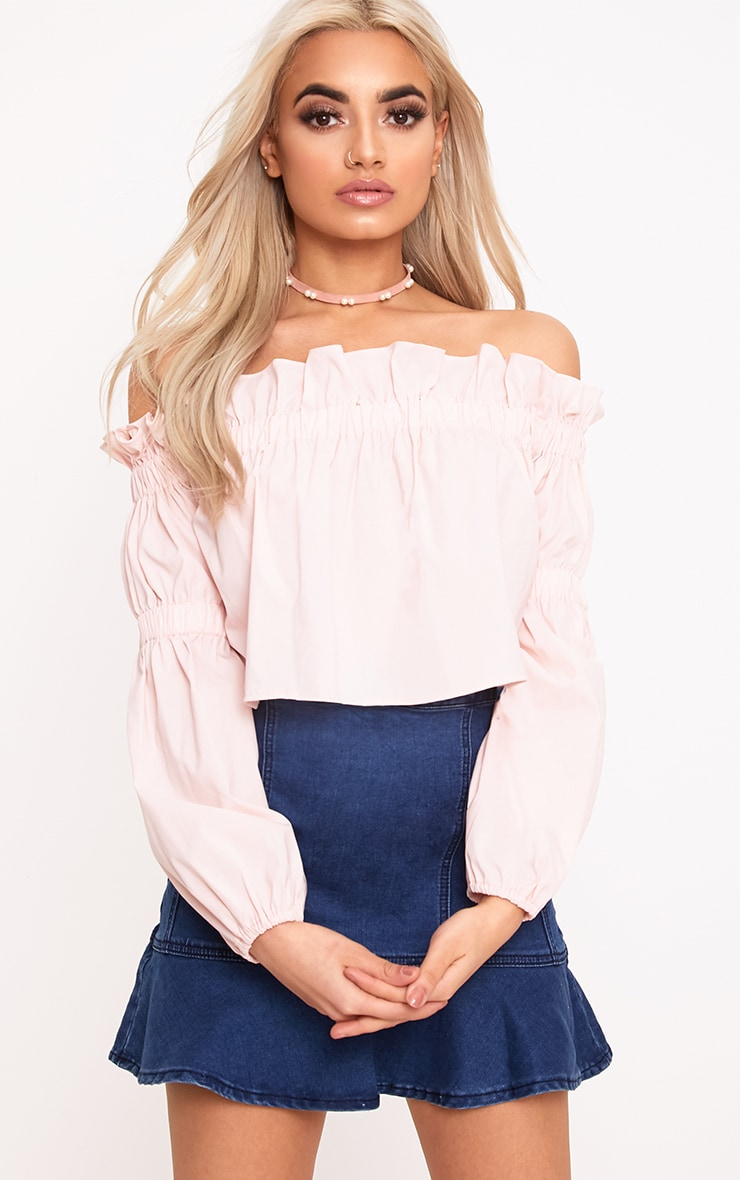 Femi Pink Bardot Frill Ruched Sleeve Top  1