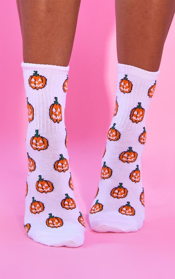 White Halloween Pumpkin Socks 2