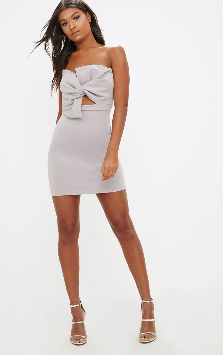 Ice Grey Scuba Bow Detail Bodycon Dress 4