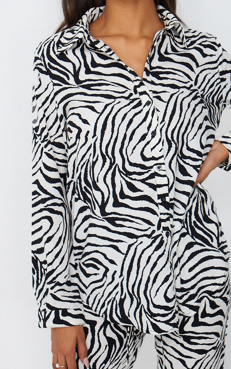 Black Zebra Print Oversized Shirt 4