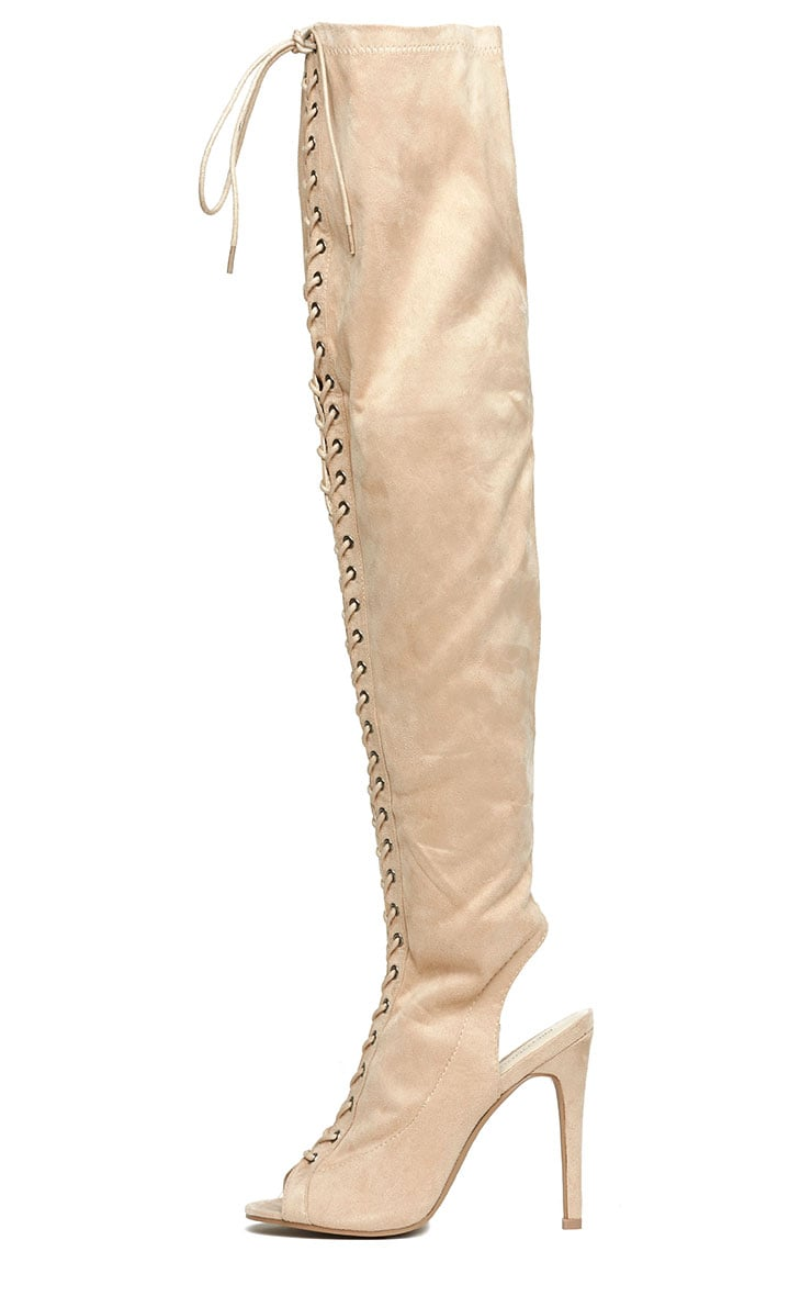 Valentina Nude Suede Lace Up Thigh Boots 6