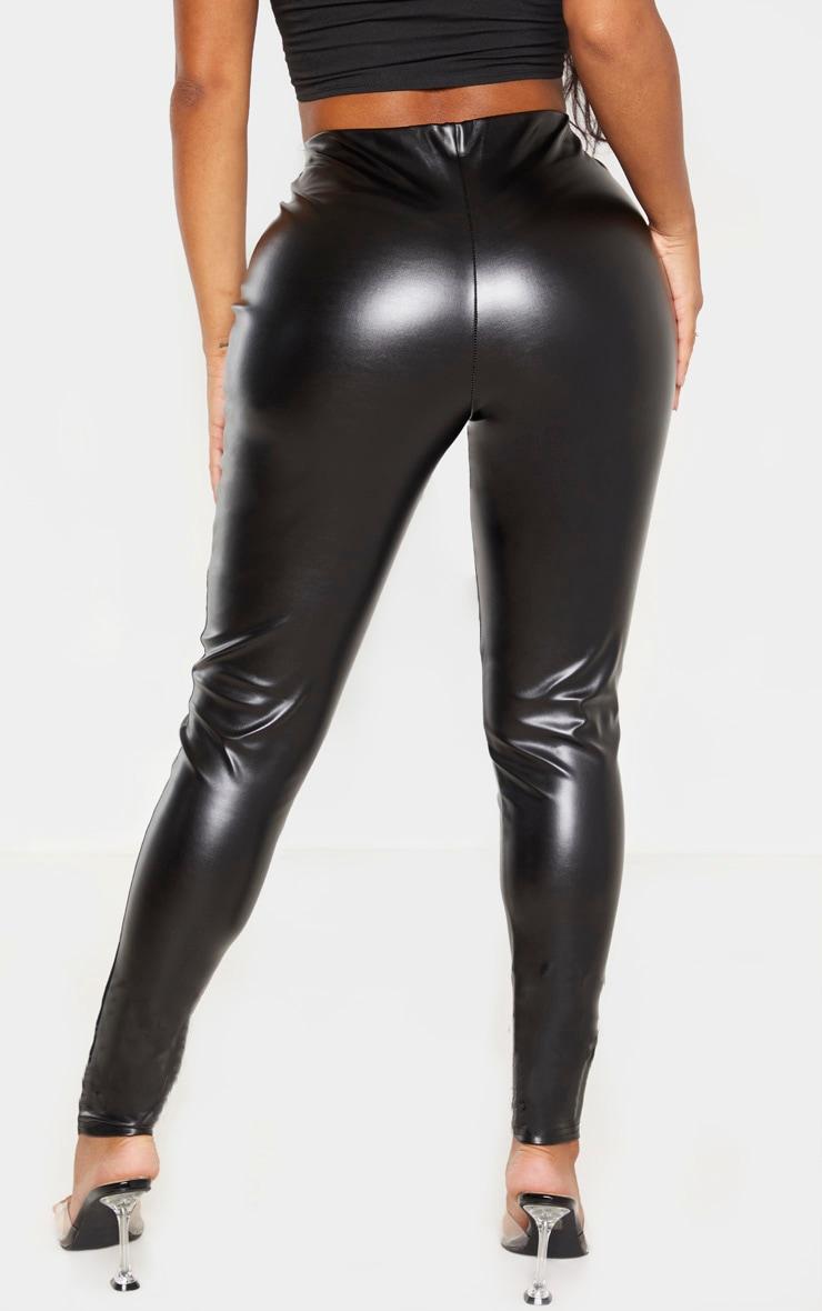 Shape - Pantalon noir en similicuir à parties empiècement  4
