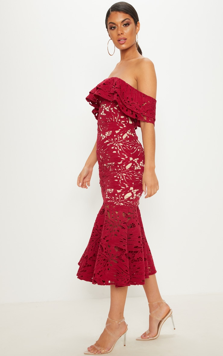 Maroon Crochet Lace Bardot Fishtail Midi Dress 4