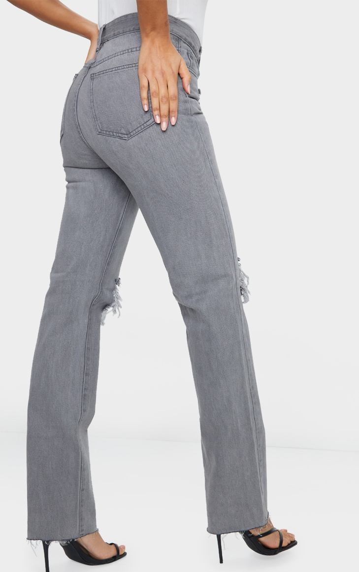 Washed Grey Distressed High Waist Straight Leg Jean 3