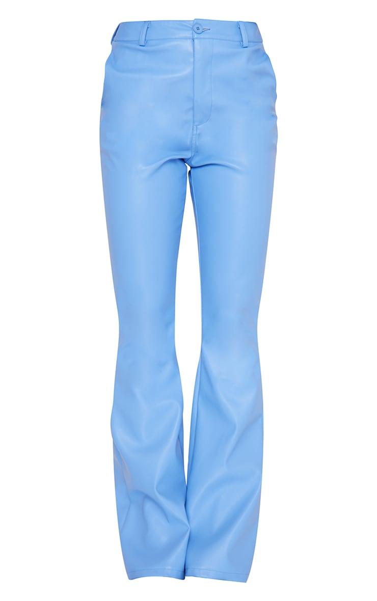 Cornflower Blue Faux Leather Straight Leg Trousers 5