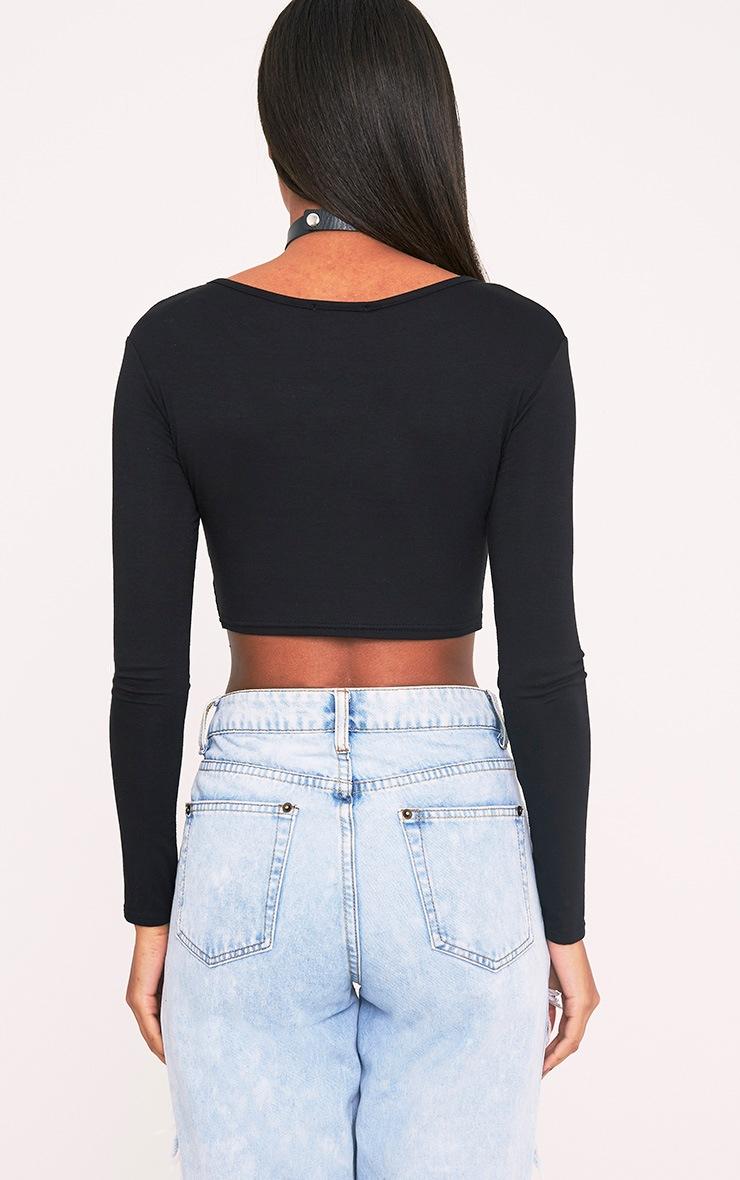 Basic Jersey Black Long Sleeve Crop Top 2
