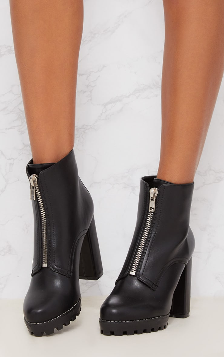 Black Platform Cleated Zip Front Ankle Boot 2
