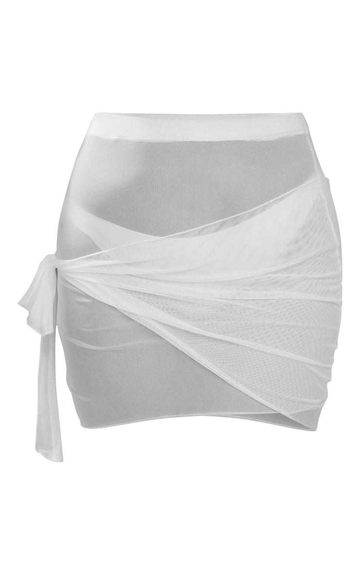 Plus White Mesh Wrap Beach Skirt 6