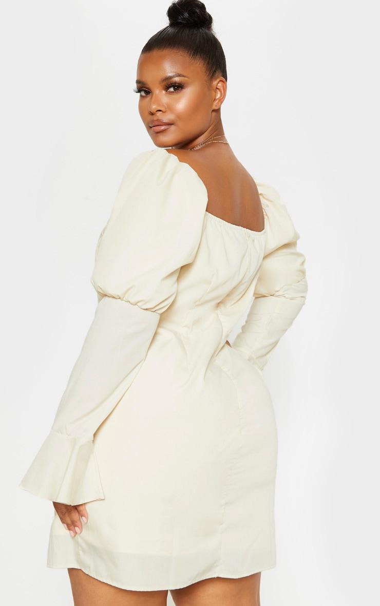 Plus Stone Bardot Puff Sleeve Tea Dress 2