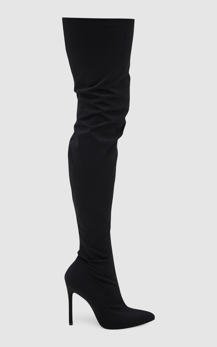 Black Lycra Thigh High Pointed Sock Boot 3