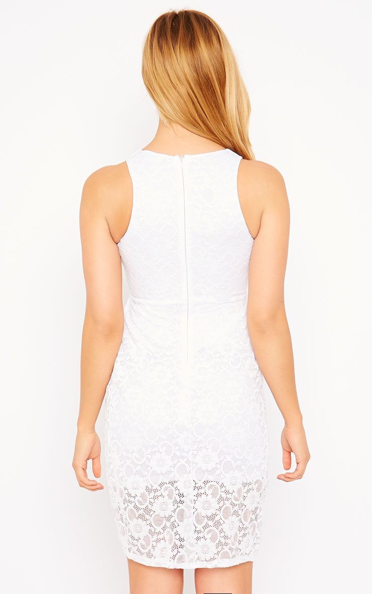 Maliha White Lace Cut Out Dress 2