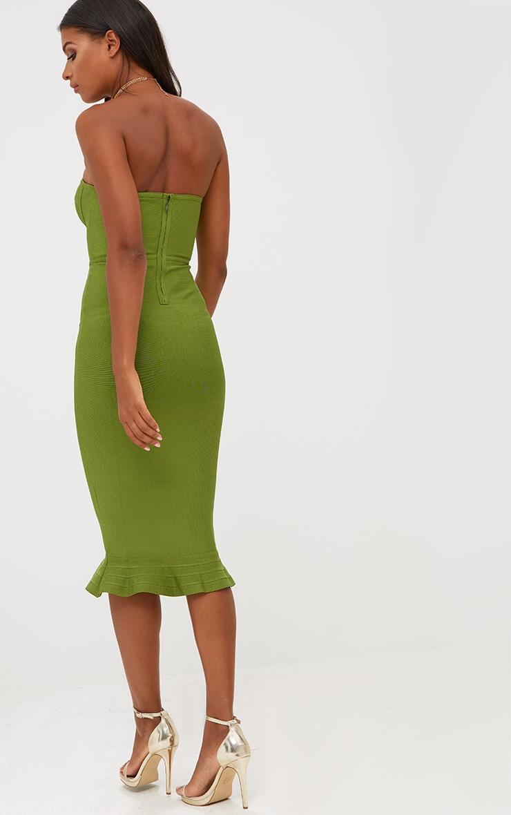 Olive Bandage Frill Hem Midi Dress 2