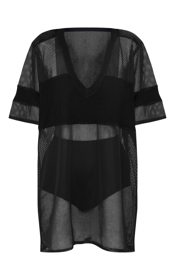 Black Airtex Mesh T Shirt Dress 3