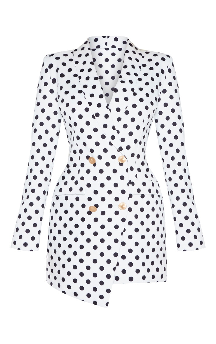 White Polkadot Gold Button Blazer Dress 3