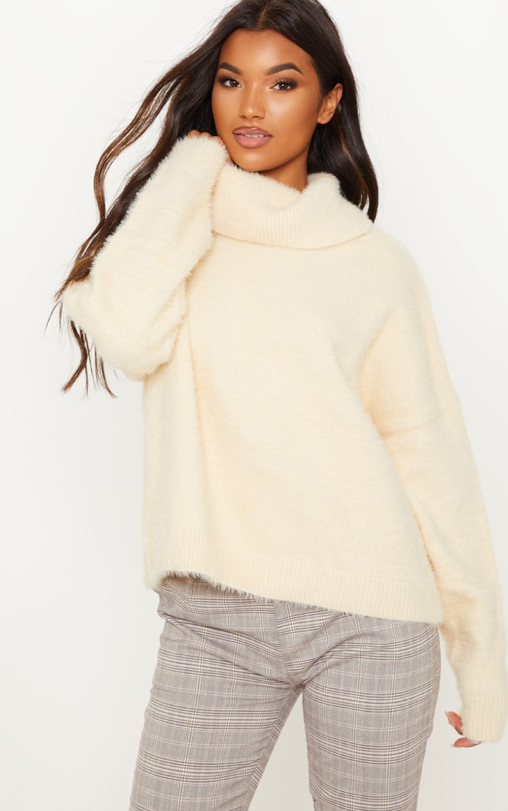 Cream High Neck Eyelash Knitted Jumper  1
