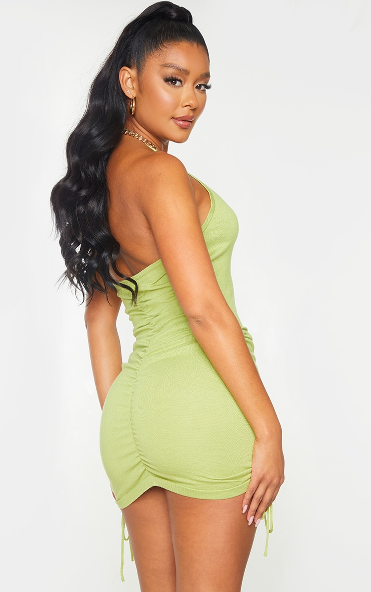 Green  Ruched V Neck Strappy Knitted Dress 2