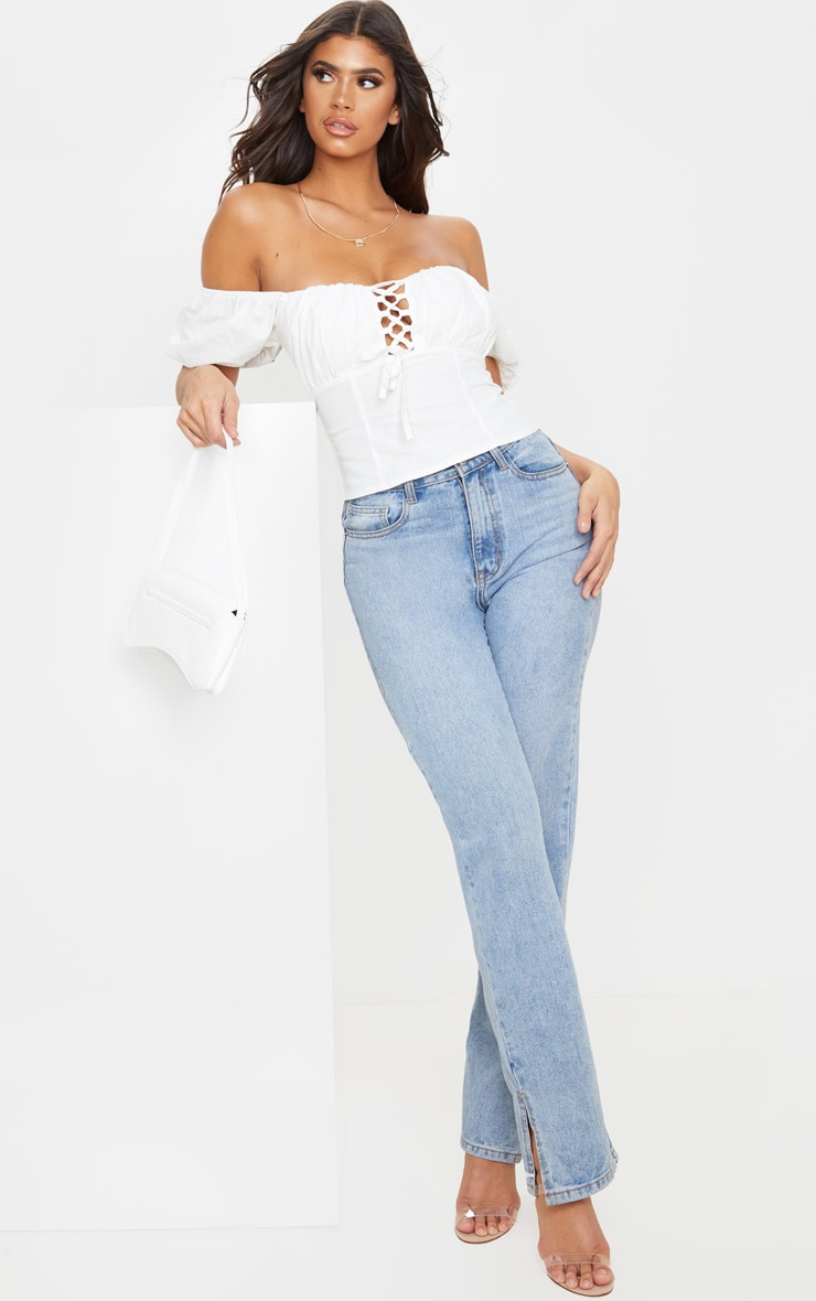 White Woven Puff Lace Up Crop Top 4