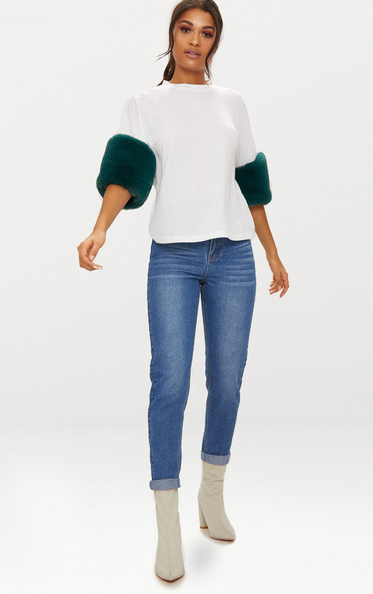 White Faux Fur Short Sleeve T Shirt  4