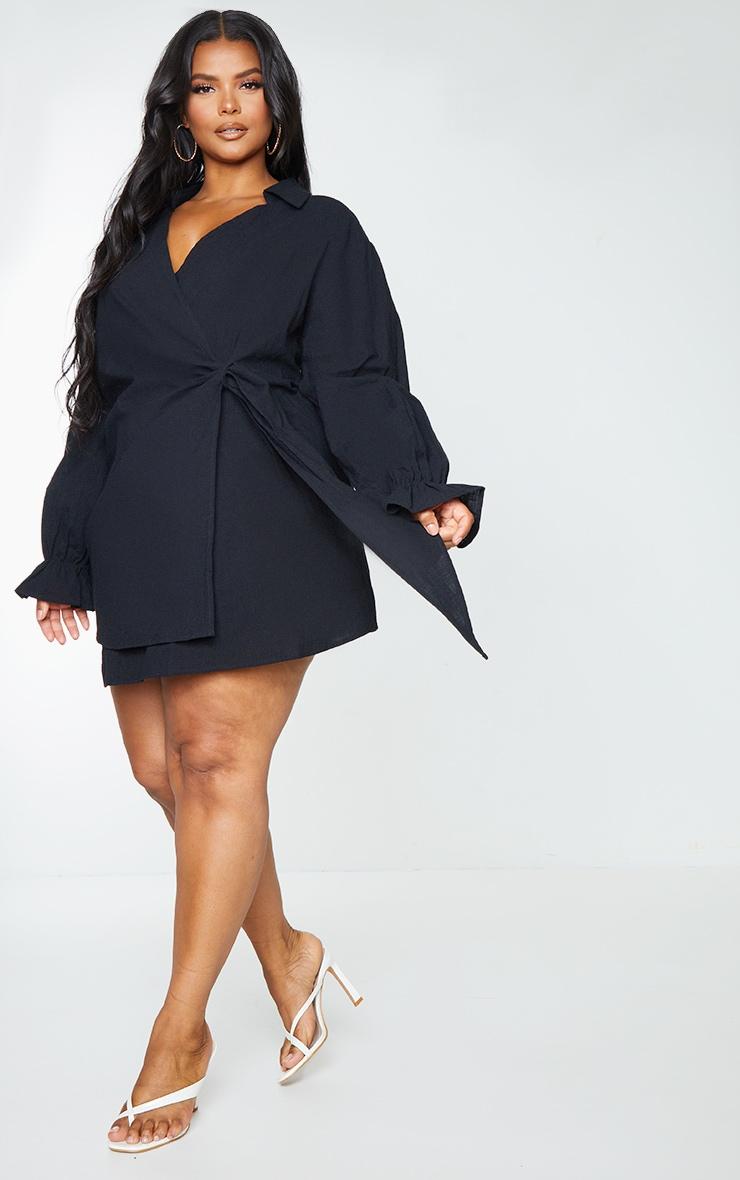 Plus Black Wrap Plunge Dress 1