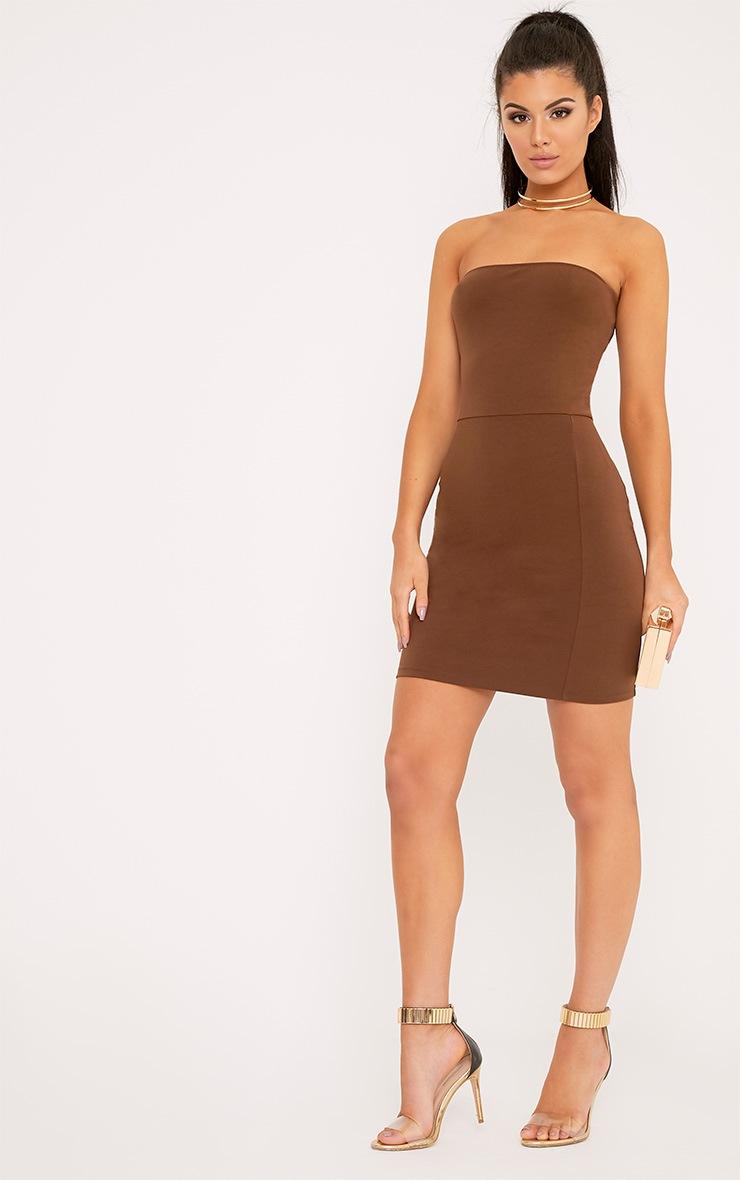 Elia Brown Bandeau Bodycon Dress 4