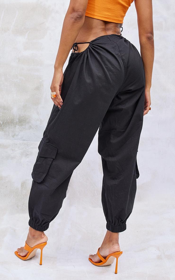 Black Woven Cut Out Tie Detail Pocket Joggers 3