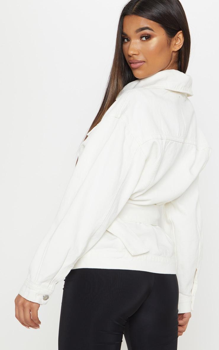 White Buckle Waist Denim Jacket  2