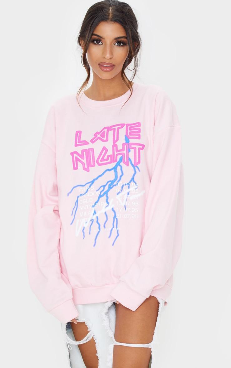 Baby Pink Late Night Slogan Sweater 1
